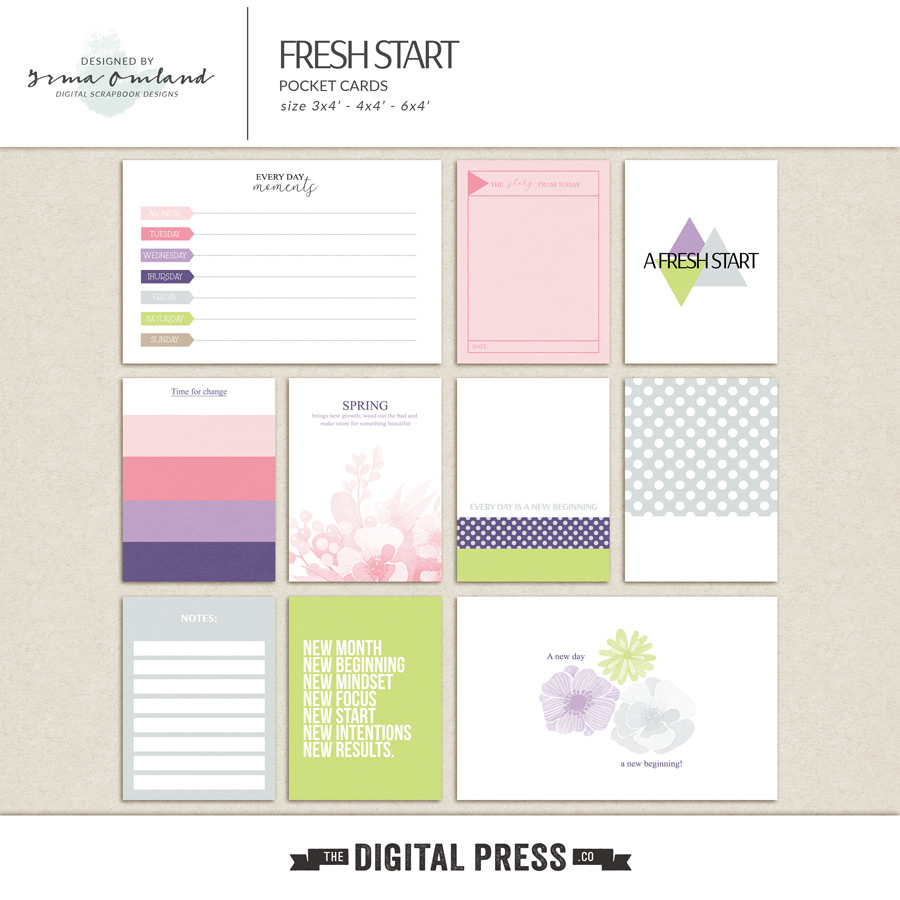 Fresh start - journaling cards