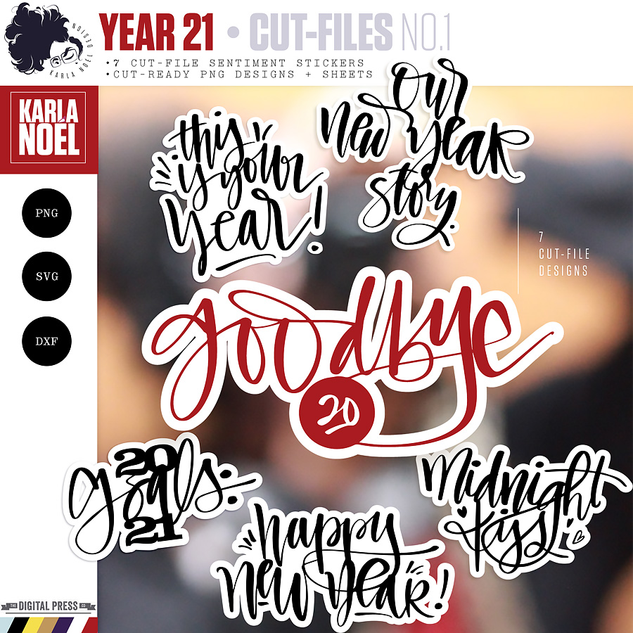 Year 21   New Year Sentiments 1   Cut-File Stickers