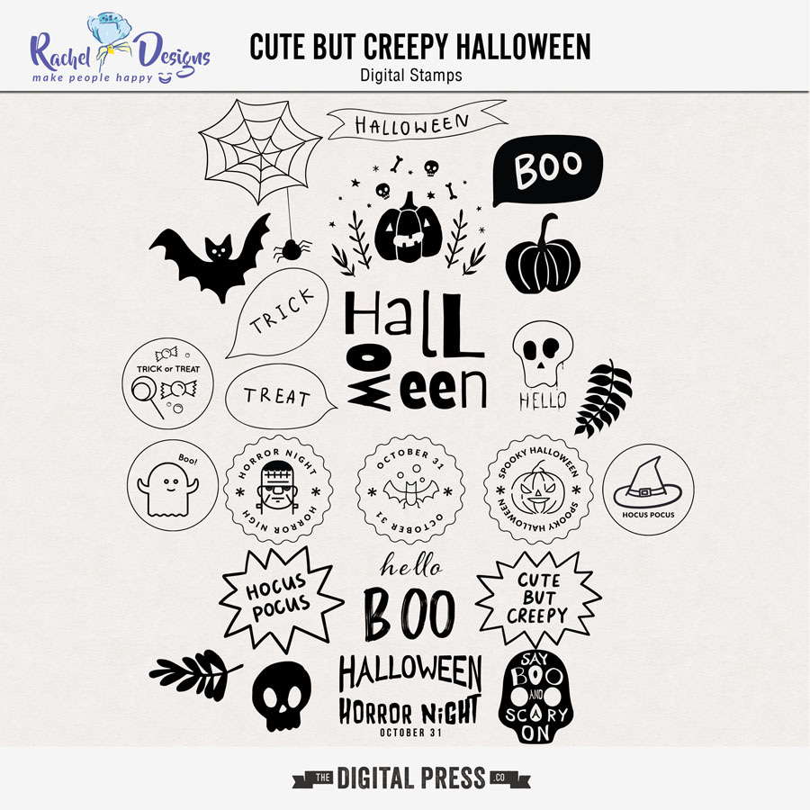 Cute But Creepy Halloween   Stamps