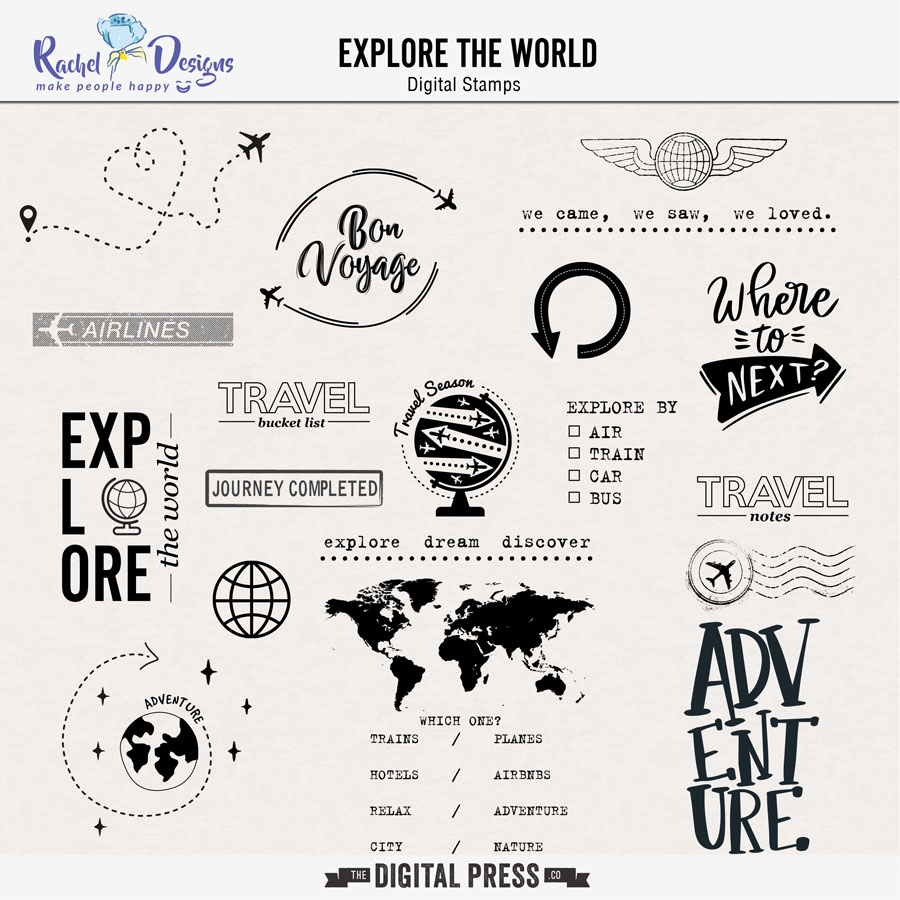 Explore The World   Digital Stamps