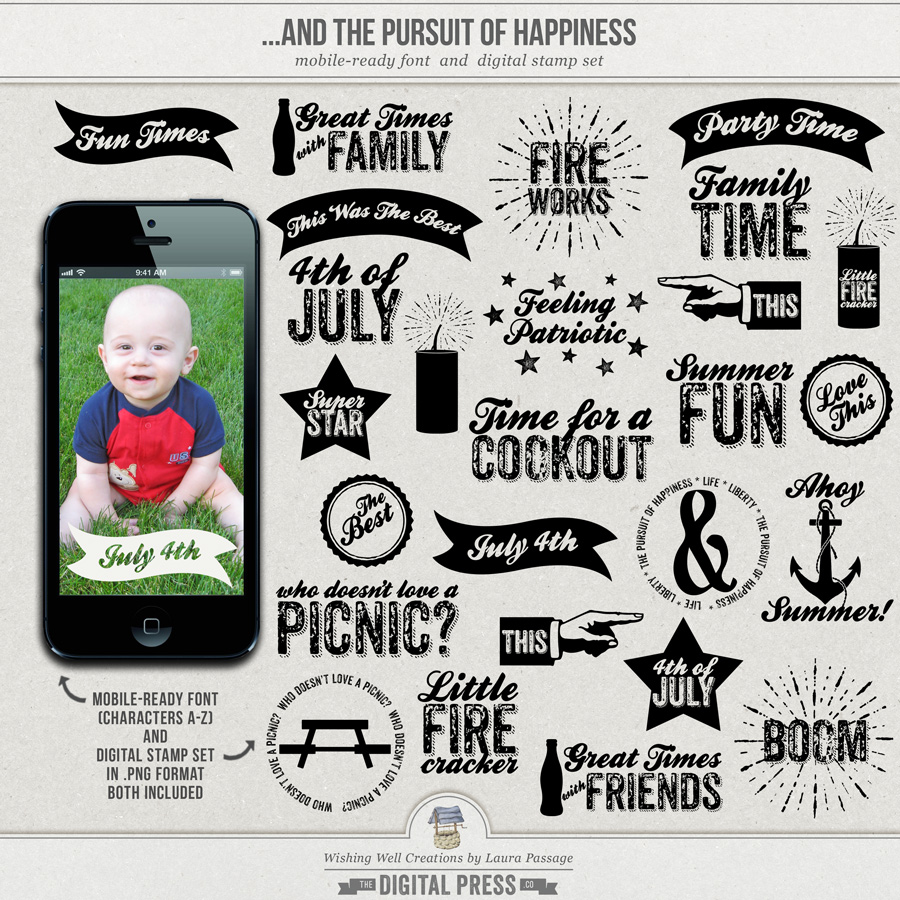 ...And The Pursuit Of Happiness | Mobile-Ready Font & Stamp Set