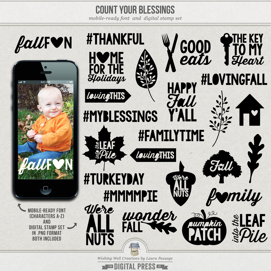 Count Your Blessings | Mobile-Ready Font & Stamp Set
