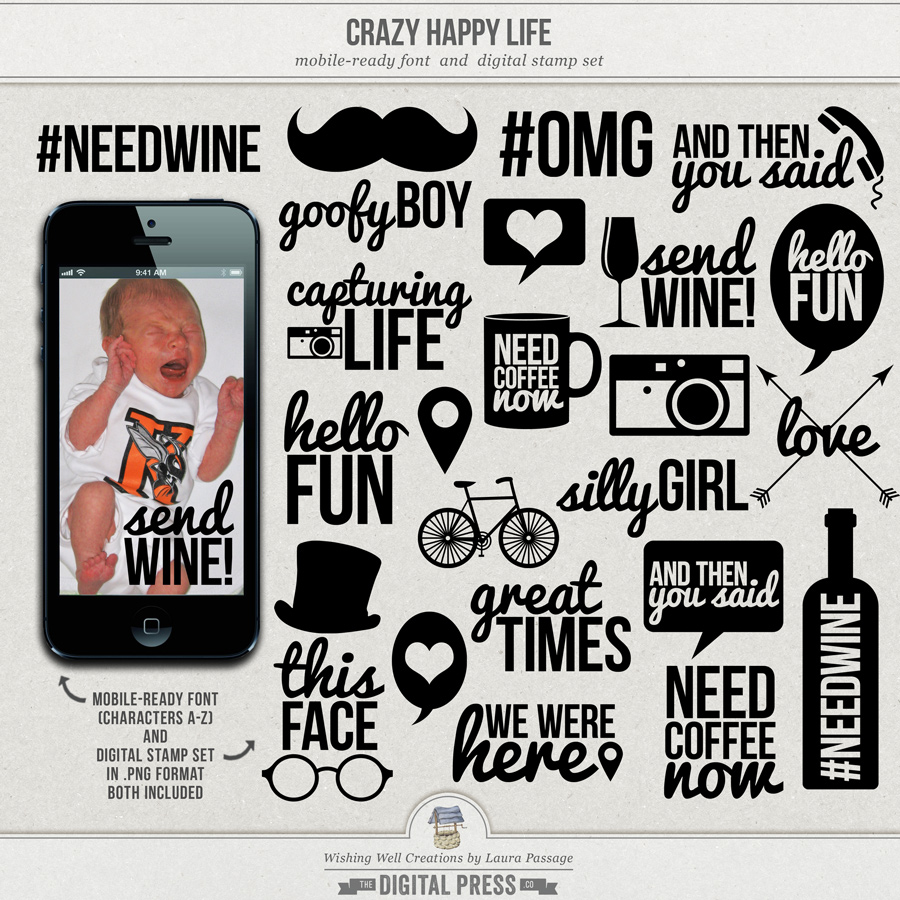 Crazy Happy Life | Mobile-Ready Font & Stamp Set