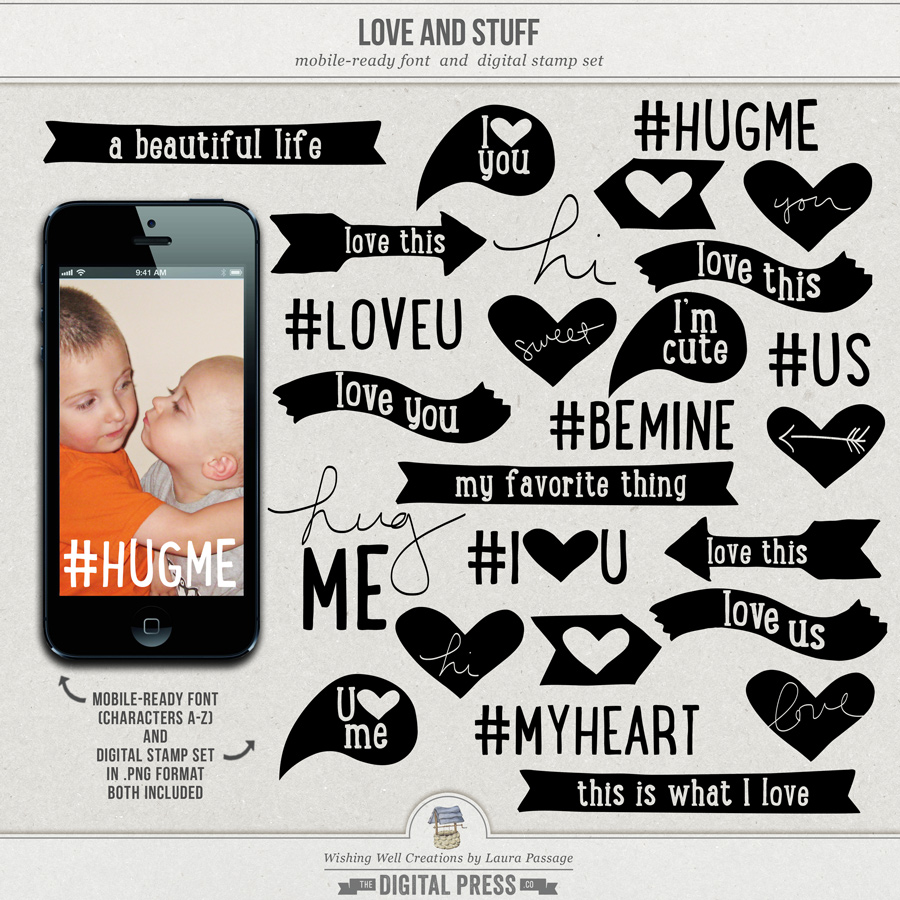 Love And Stuff | Mobile-Ready Font & Stamp Set