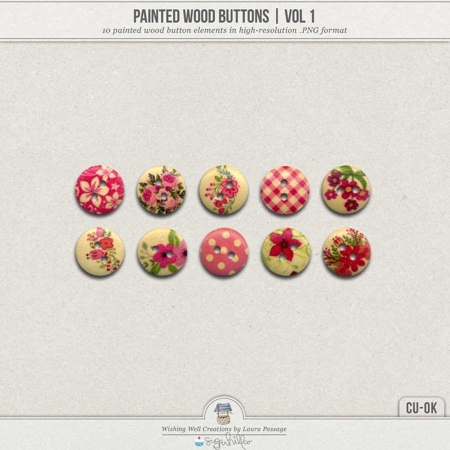 Painted Wood Buttons | Vol 1 (CU)