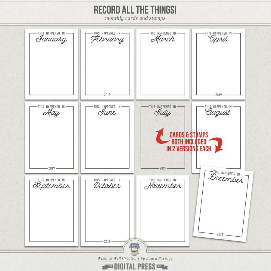 Record All The Things! | Monthly Cards & Stamps