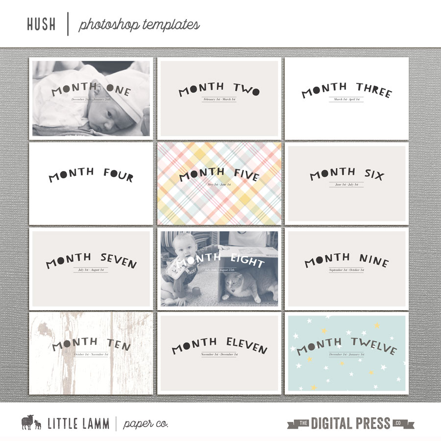 Hush | Monthly Photo Templates & Stamps
