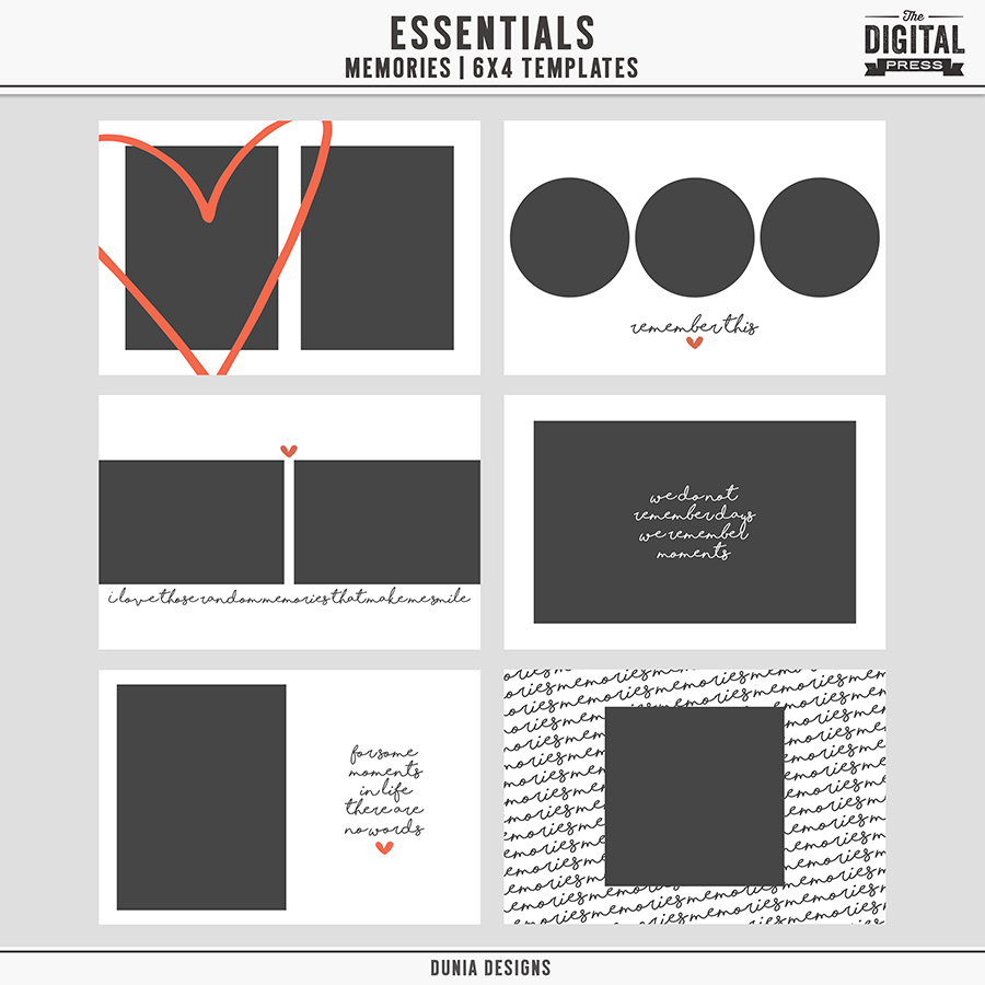 Essentials | Memories - 6x4 Templates