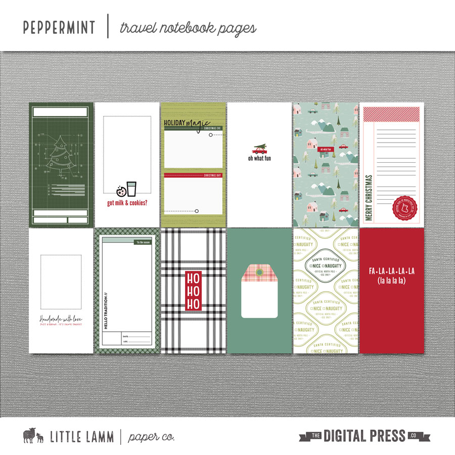 Peppermint | Travel Notebook Pages