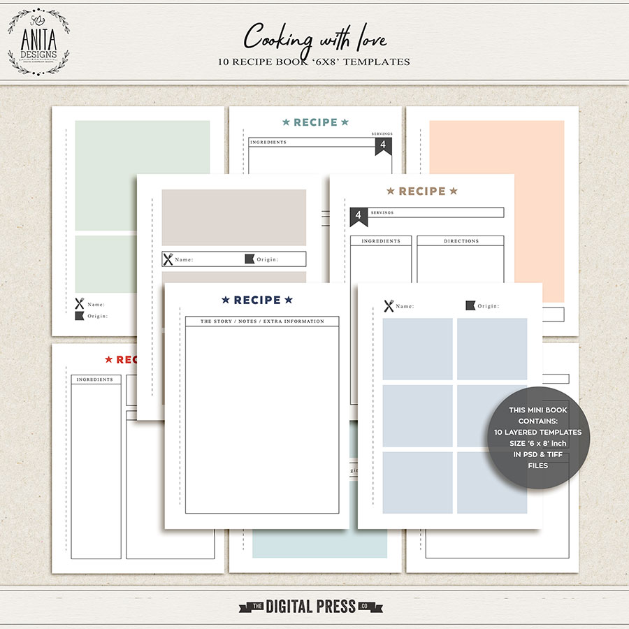 Cooking With Love   6x8 Recipe Templates
