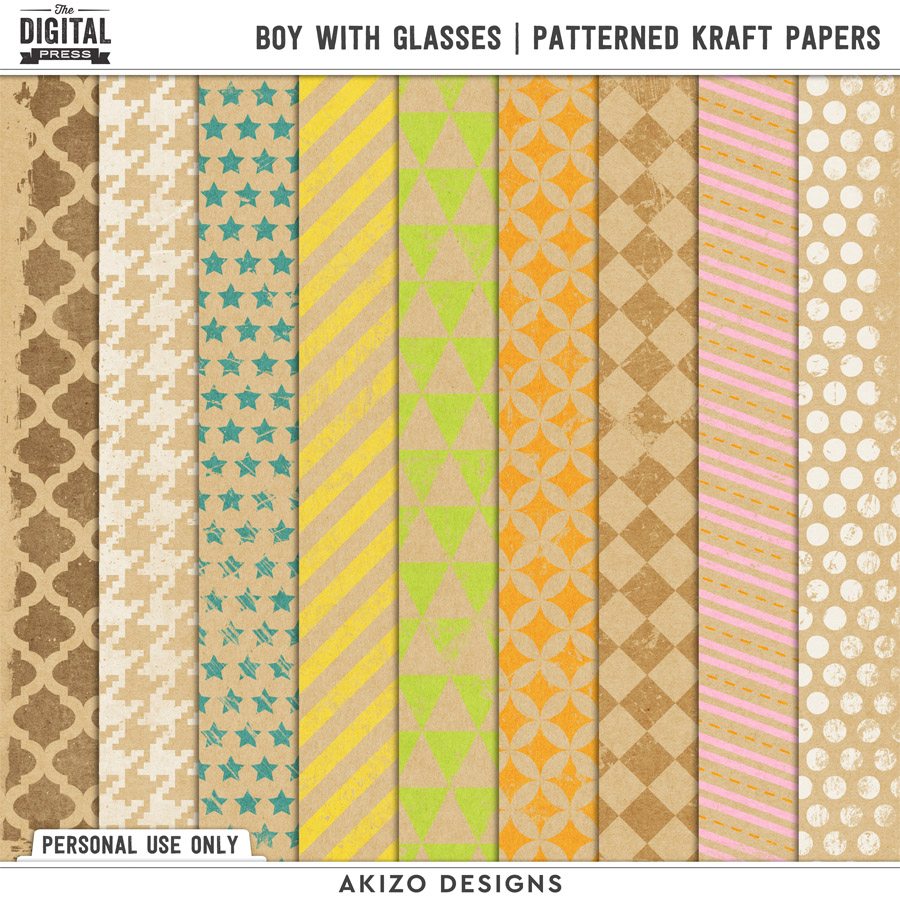 Boy With Glasses | Patterned Kraft Papers