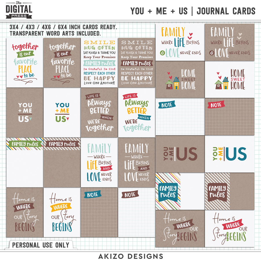 You + Me = Us   Journal Cards