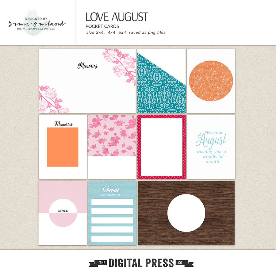 Love August - Journaling Cards