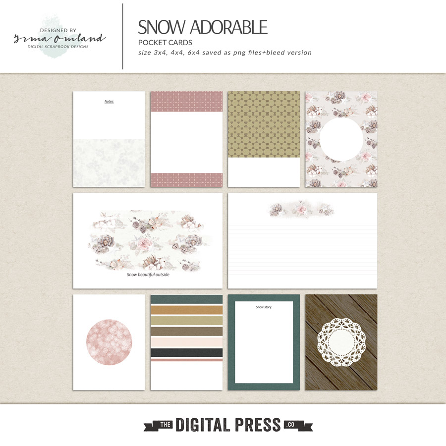 Snow adorable - journaling cards