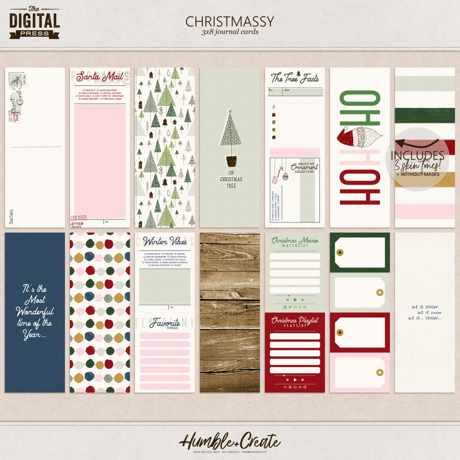 Christmassy | 3x8 Journal Cards