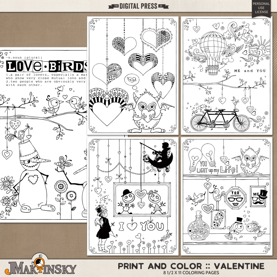 Print And Color :: Valentine