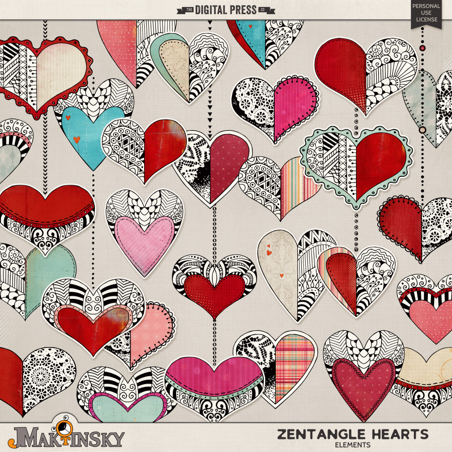 Zentangle Hearts