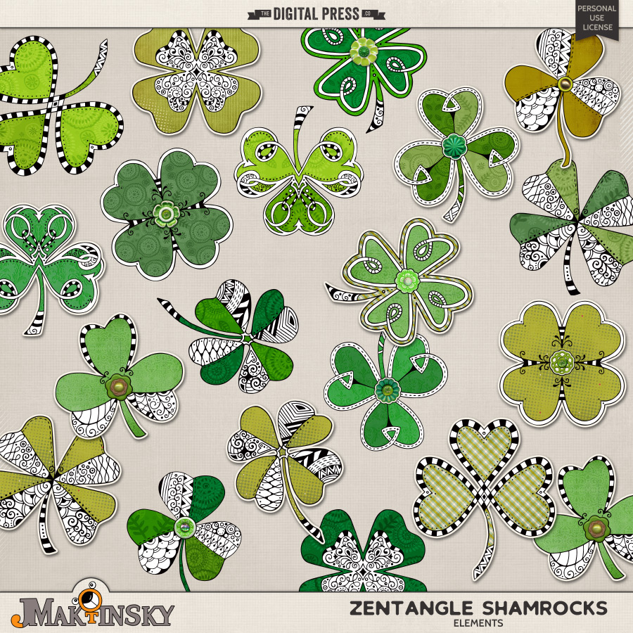 Zentangle Shamrocks