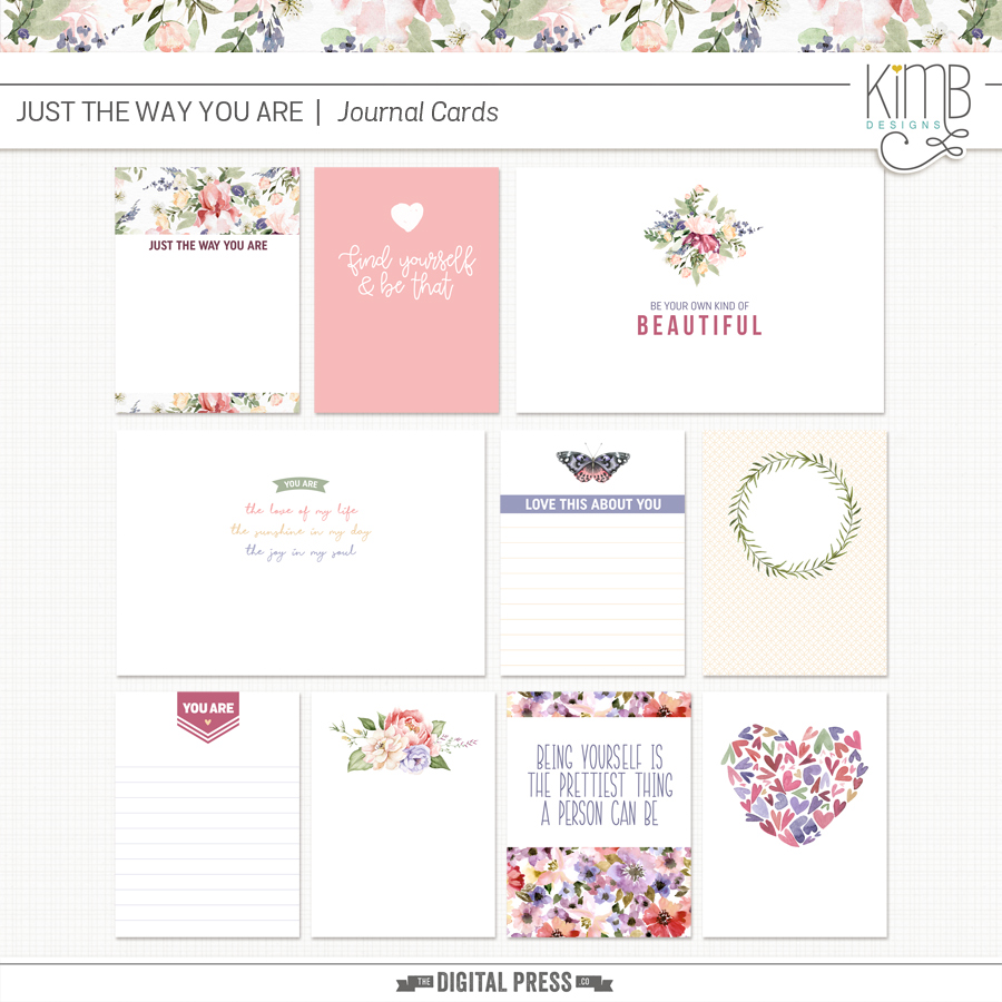 Just The Way You Are : Journal Cards