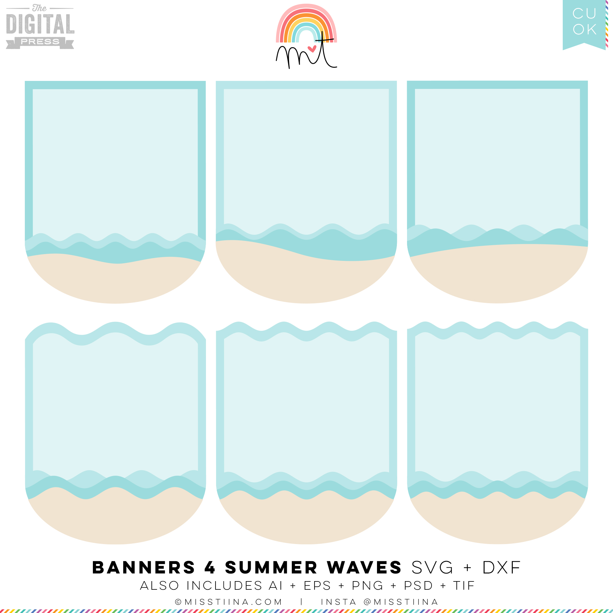 Banners 4 - Sand and Summer Waves SVG (CU)