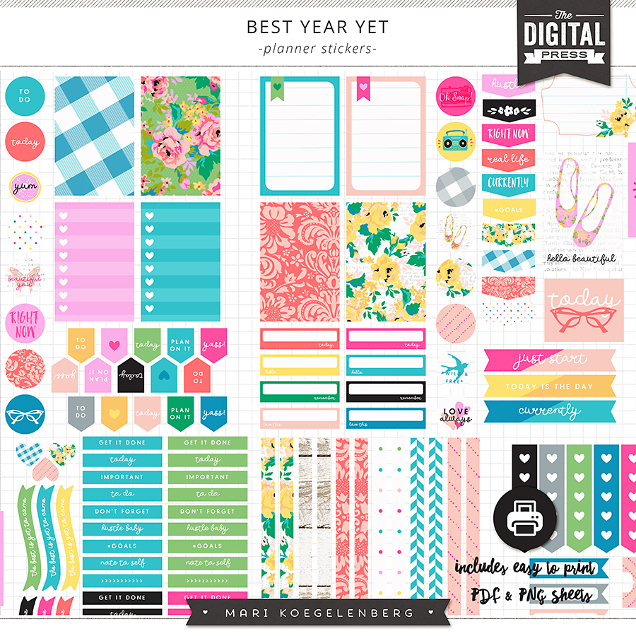 best year yet | printable planner stickers