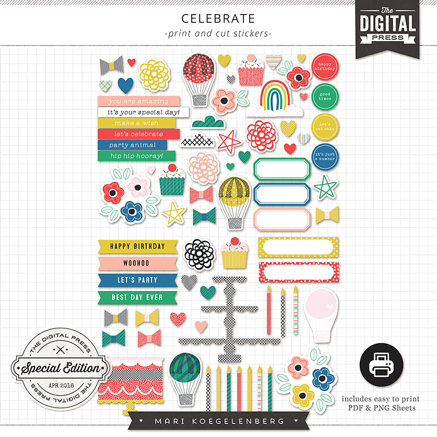 Celebrate | Print and Cut Stickers