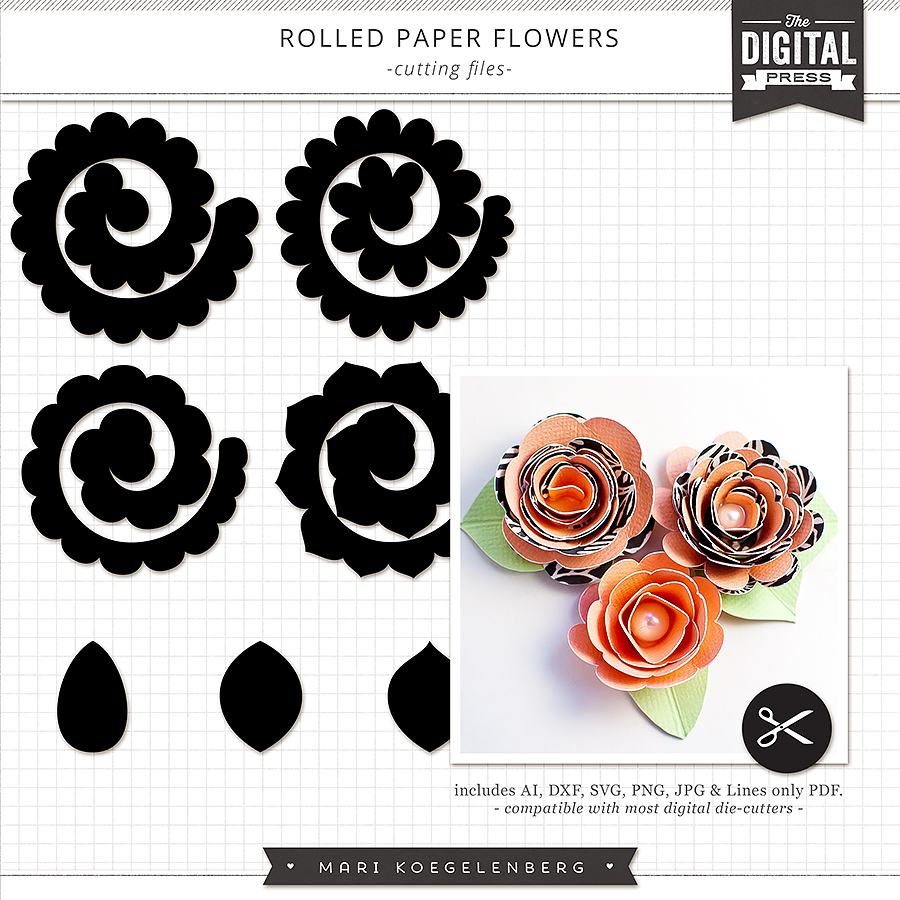 rolled paper roses template - rolled paper flowers the cutting files