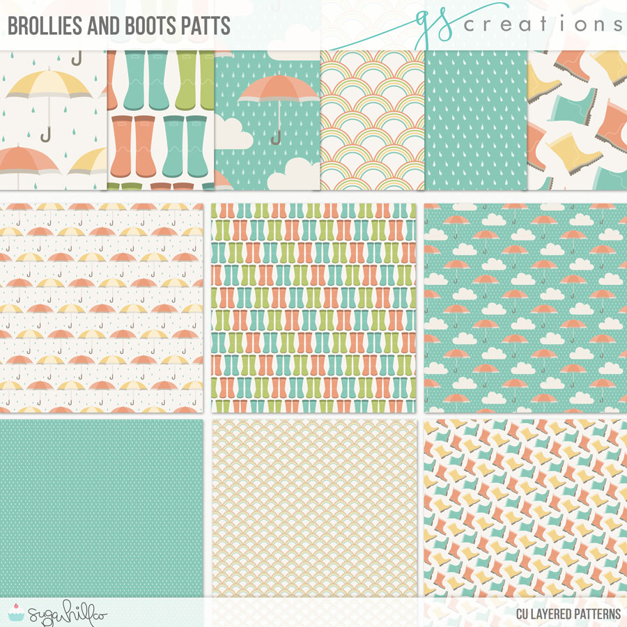 Brollies and Boots Layered Patterns (CU)
