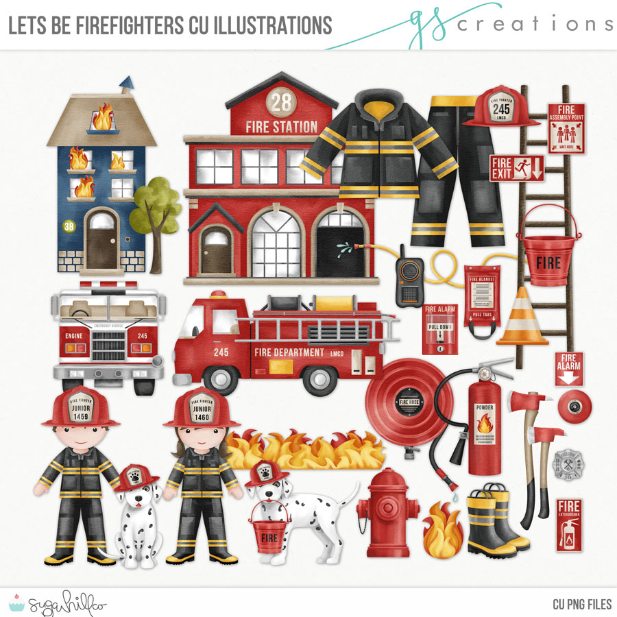 Lets Be Firefighters Illustrations CU