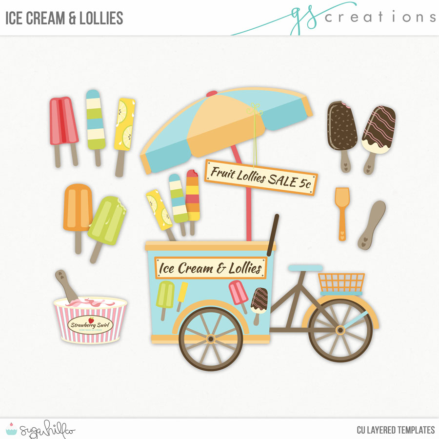 Ice Cream and Lollies Layered Templates (CU)