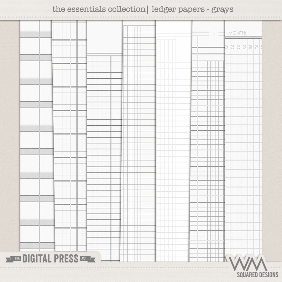 Essentials Collection   Ledger Papers - Grays
