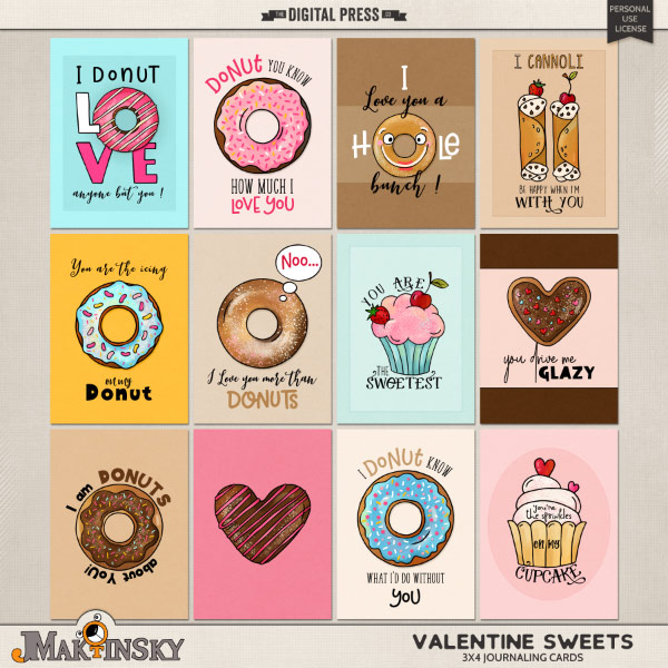 Valentine Sweets | Journal cards