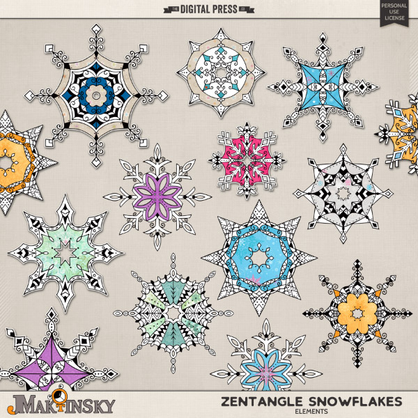 Zentangle Snowflakes
