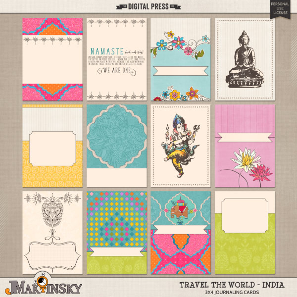 Travel the World - India | Journal cards