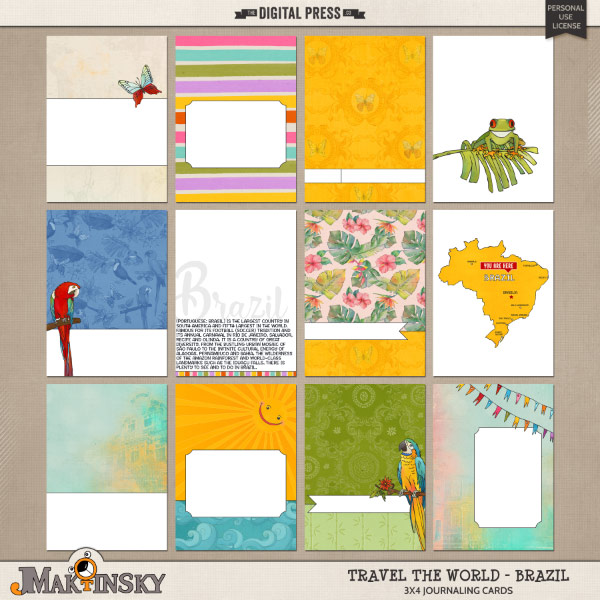 Travel the World - Brazil | Journal cards
