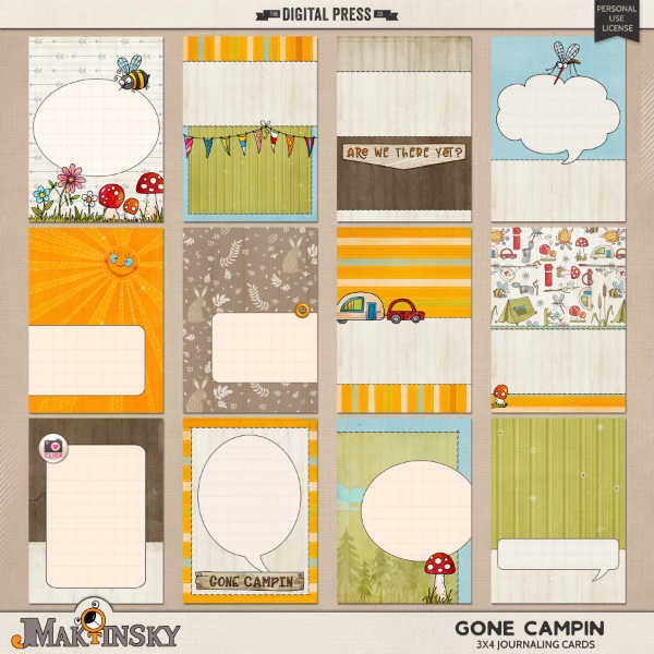 Gone Campin   3x4 journaling cards
