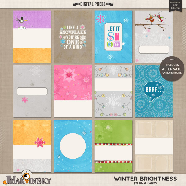 Winter Brightness | journal cards