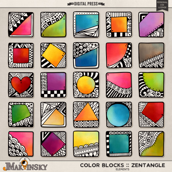 Color Blocks :: Zentangle