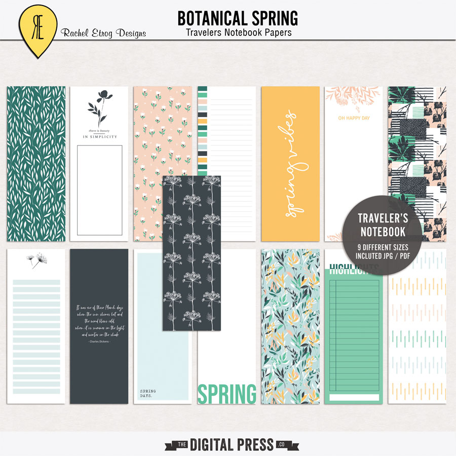 Botanical Spring | Travelers Notebook Papers