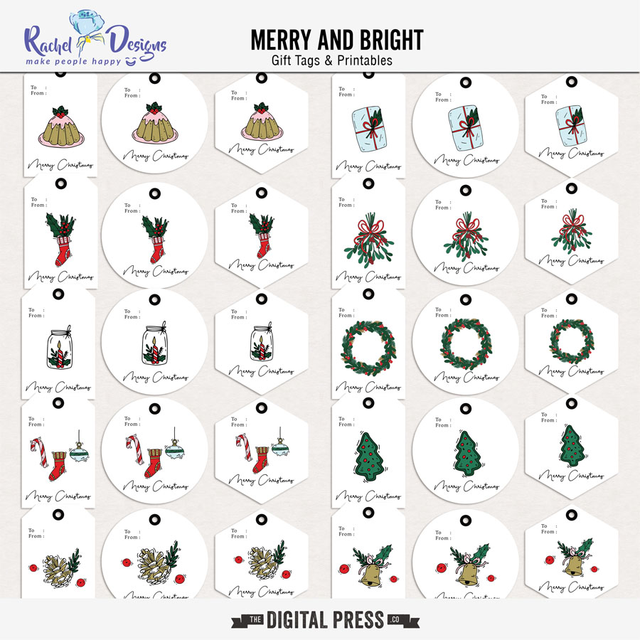 Merry And Bright | Gift Tags