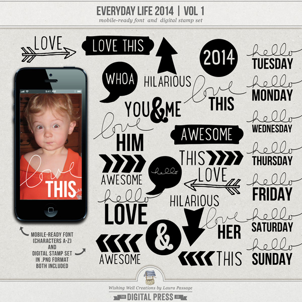 Everyday Life 2014 | Mobile-Ready Font & Stamp Set (Vol 1)