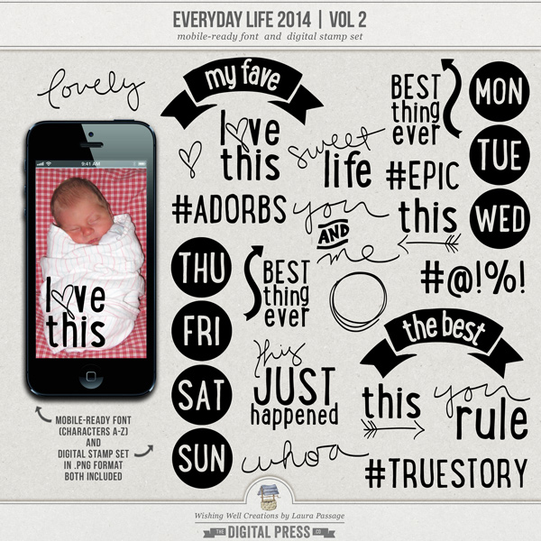 Everyday Life 2014 | Mobile-Ready Font & Stamp Set (Vol 2)