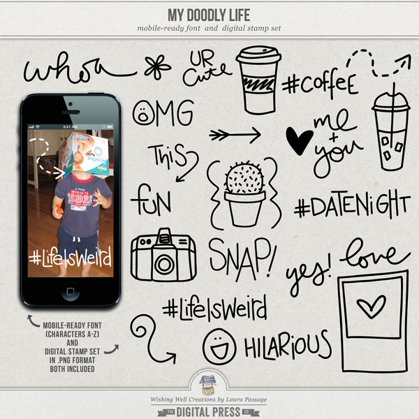 My Doodly Life | Mobile-Ready Font & Stamp Set