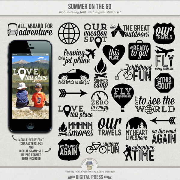Summer On The Go | Mobile-Ready Font & Stamp Set