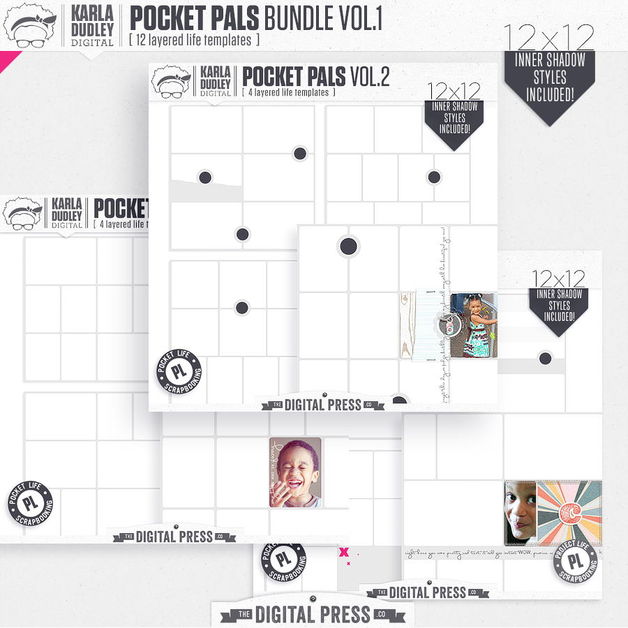 Pocket Pals Templates 12x12 | build your bundle Vol.1