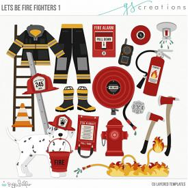 Let's Be Fire Fighters1 Layered Templates (CU)