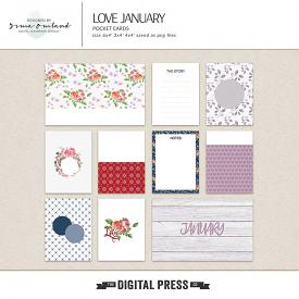 Love January -journaling cards