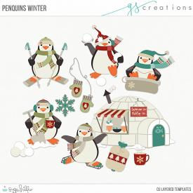Penquins Winter Layered Templates (CU)