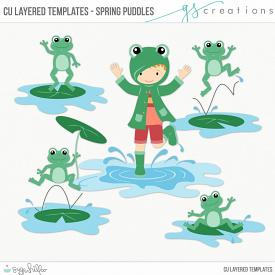 Spring Puddles1 Layered Templates (CU)