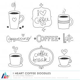 I Heart Coffee Doodles (CU)